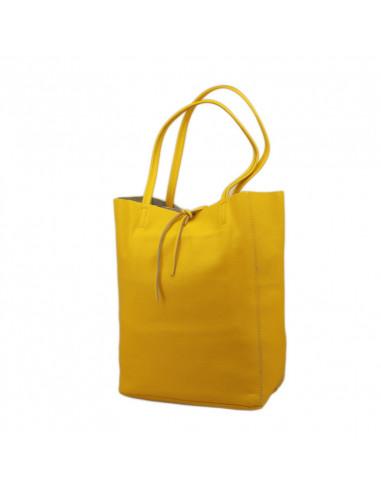 Geanta Piele Naturala Shoper Bag galben